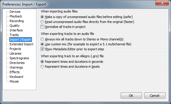 audacity settings for surround export