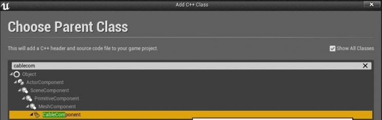 Creating a child cable component class.